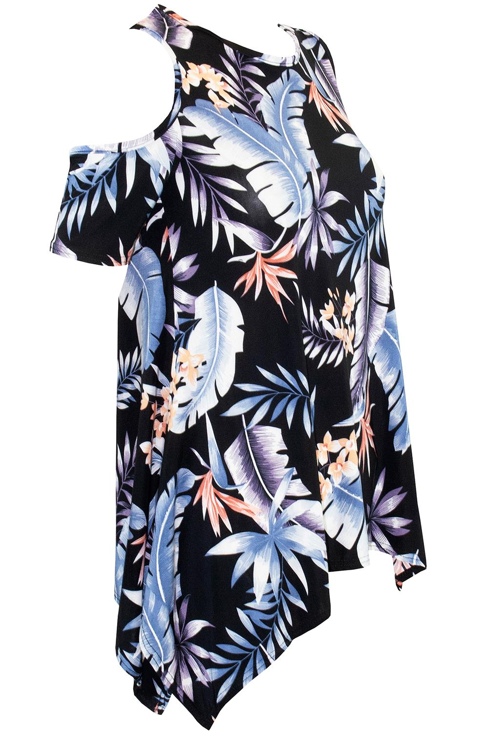 Women Ladies Floral Strappy Wide Long Sleeve Cold Shoulder Cut Out Hanky Hem Top