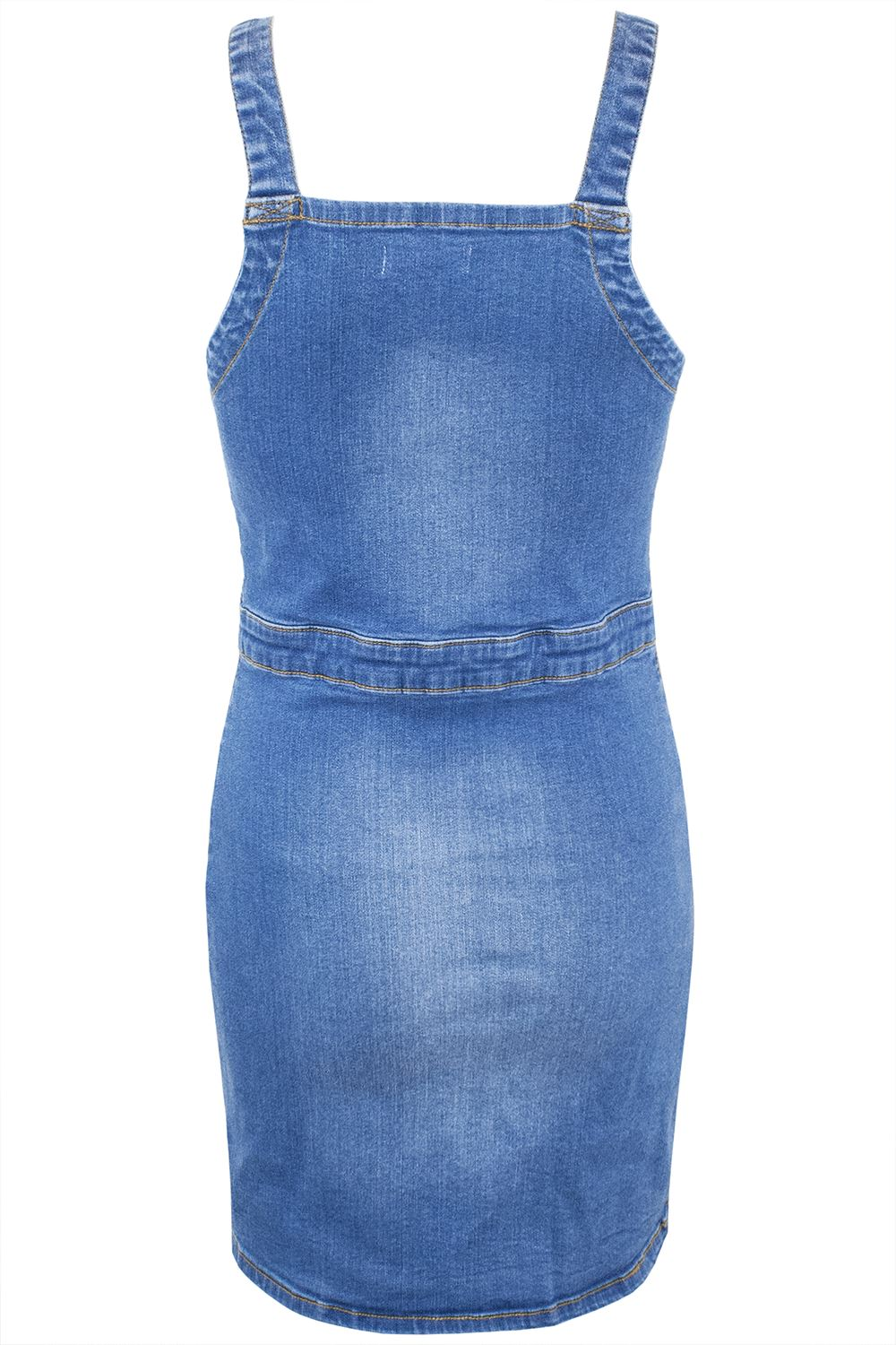 Ladies Womens Pinafore Denim Overall Faded Pockets Strap Dungaree Mini Dresses