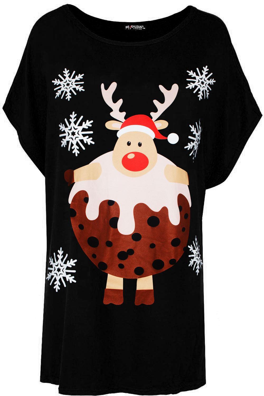 Womens Ladies Xmas Christmas Santa Reindeer Oversize Top Turn Up Sleeve T Shirt