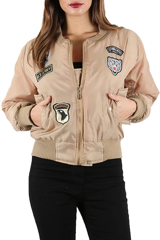 Collar para mujer Retro de Combate MA1 Ejército Militar Insignia Varsity Béisbol Chaqueta de bombardero