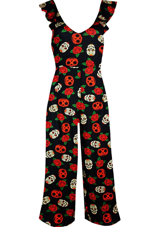 Women Ladies Pumpkin Skull Wide Leg 3//4 Frill Peplum Halloween Playsuit Jumpsuit