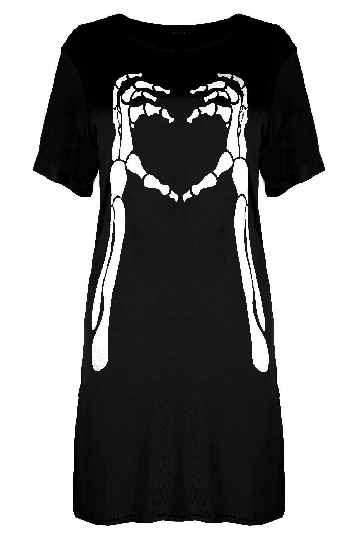 Ladies Womens Halloween Rebel Skull Fancy Floral Print Oversized Baggy PJ Dress