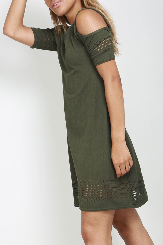 Women Ladies Laser Cut Short Sleeve Cold Shoulder Flared Smock Skater Mini Dress