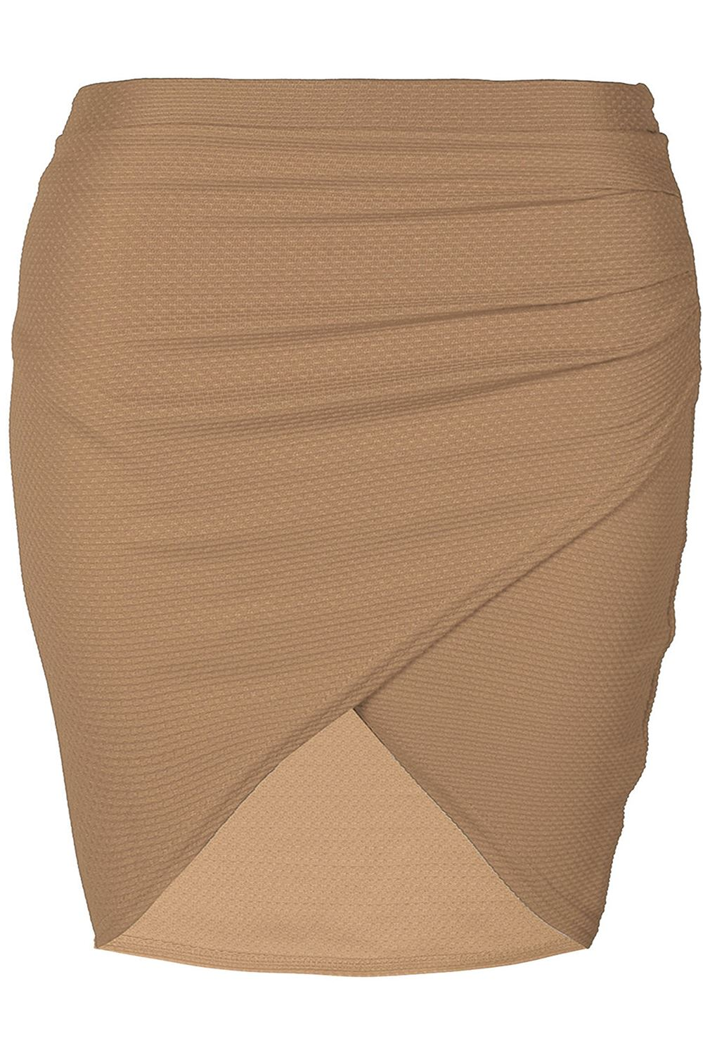 Plus Size Ladies Womens Side Ruched Wrap Over Waffle Fabrics Bodycon Mini Skirt