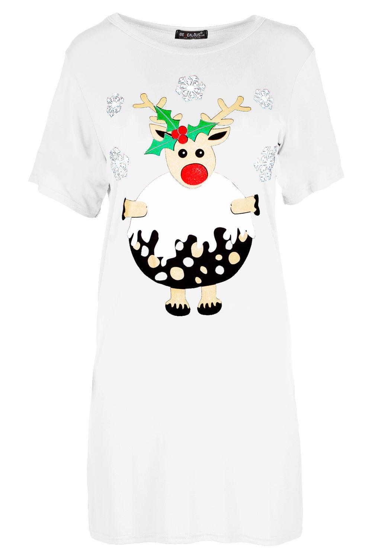 Mini Vestido Mujer señoras de gran tamaño Navidad fusión Muñeco de Nieve Navidad Holgado Camiseta