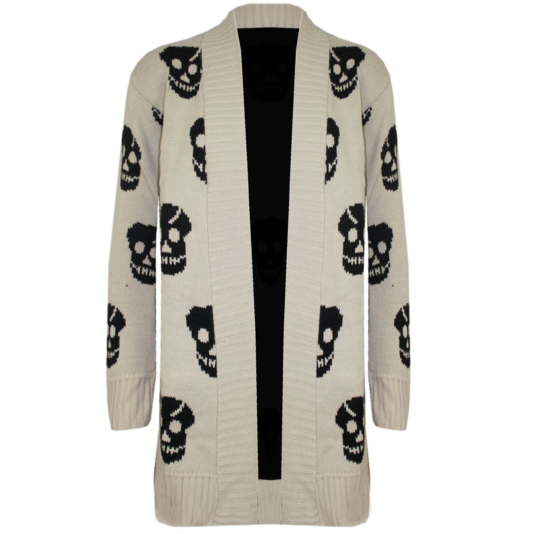 Womens Skull Front Open Waterfall Long Knitted Sweater Ladies Cardigan Top