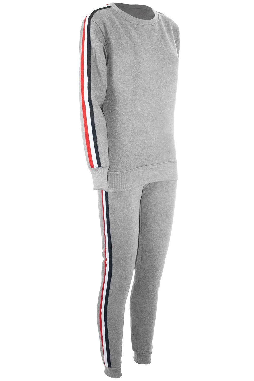 Ladies Womens Contrast Side Stripes Long Sleeve Pockets Loungewear Tracksuit Set
