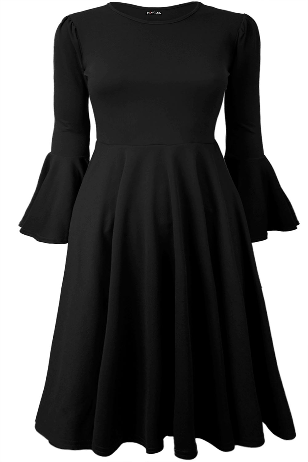 Plus Size Ladies Womens Frill Long Bell Sleeve Flared Skater Swing Midi Dress