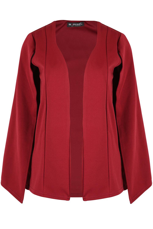 Femme Surdimensionné double épaisseur femmes châle à col ouvert patte de boutonnage manteau cape Top