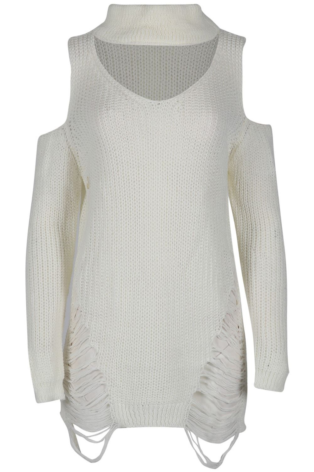 Ladies Chunky Knit Womens Cold Shoulder Choker Keyhole Neck Destroyed Mini Dress