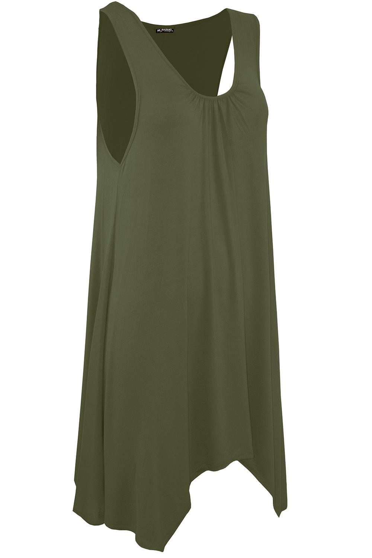 Da Donna con elastico Swing Increspato Senza Maniche Svasato Hanky Orlo Mini Dress Top