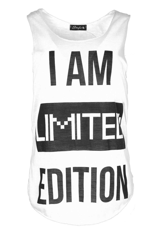 Women Ladies Slogan I Am Limited Edition Edge Burnout Jersey Vest Tee TShirt Top