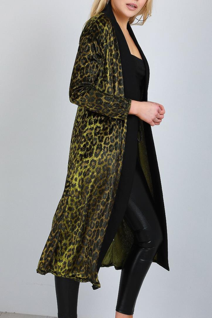 Ladies Womens Long Sleeve Velvet Velour Leopard Print Open Front Blazer Cardigan