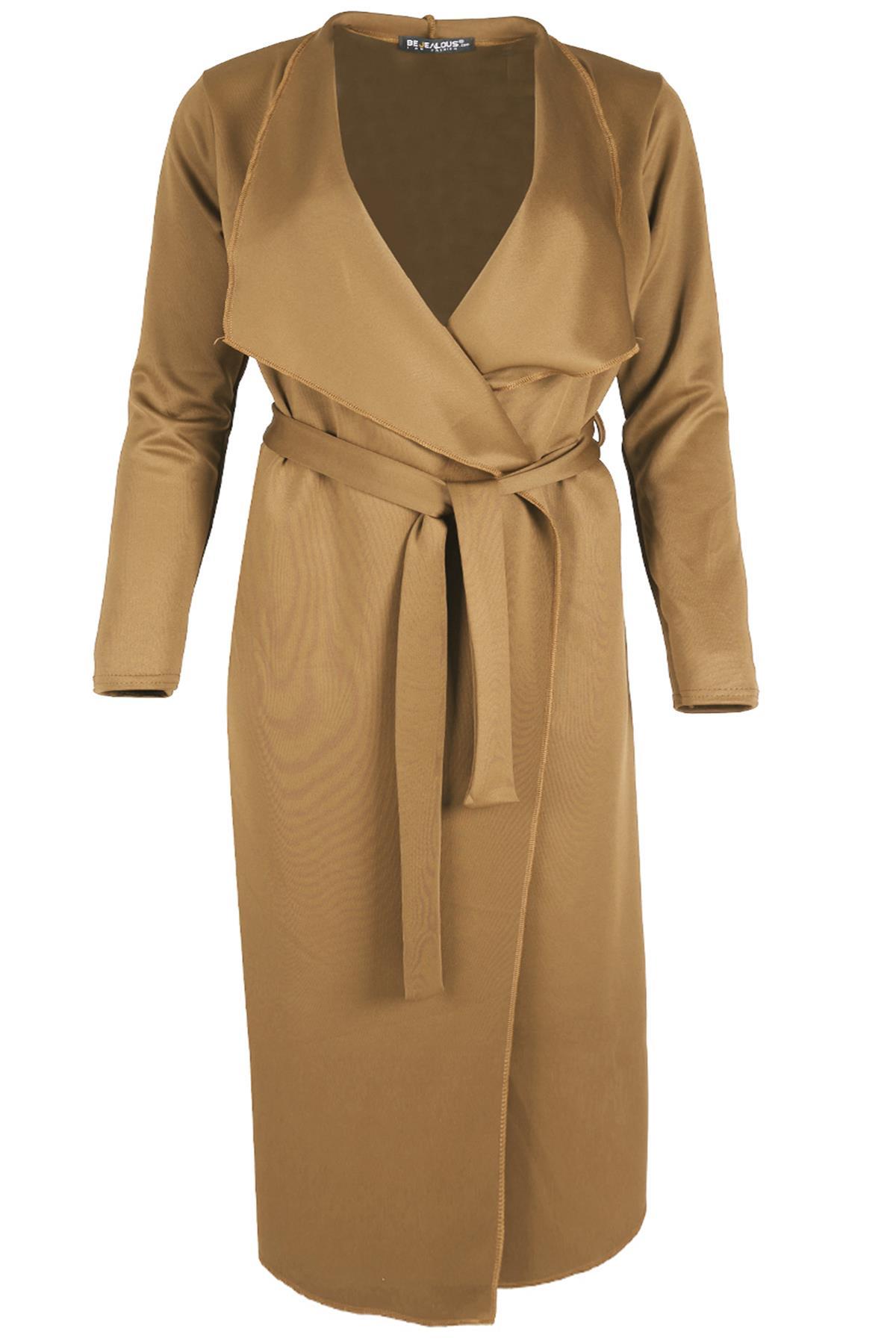 PLUS Size donna donna tie Cintura Cardigan Maxi CASCATA ITALIANO Cape Duster Coat