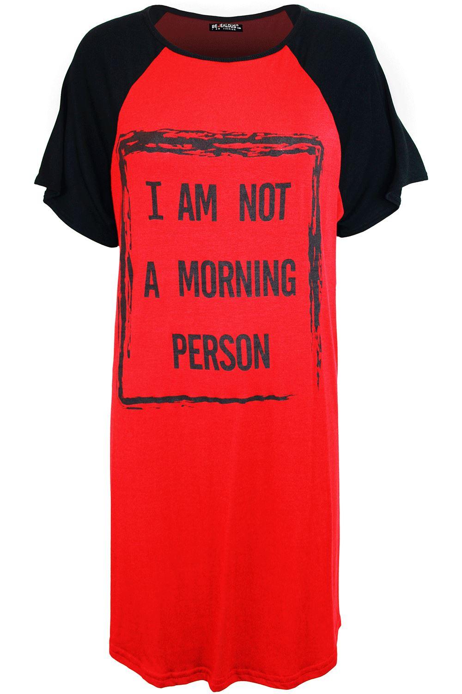 Womens Ladies Baggy I Am Not Morning Person Raglan Sleeves T Shirt PJ Mini Dress