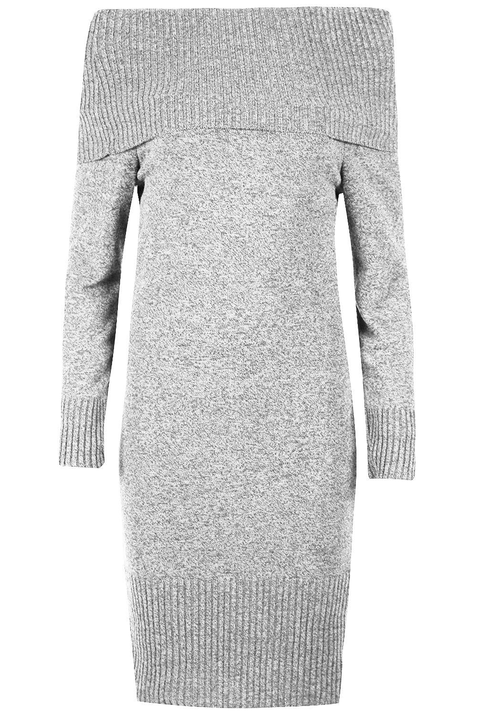 Womens Ladies Knitted Off Shoulder Bardot Peplum Frill Bodycon Jumper Midi Dress