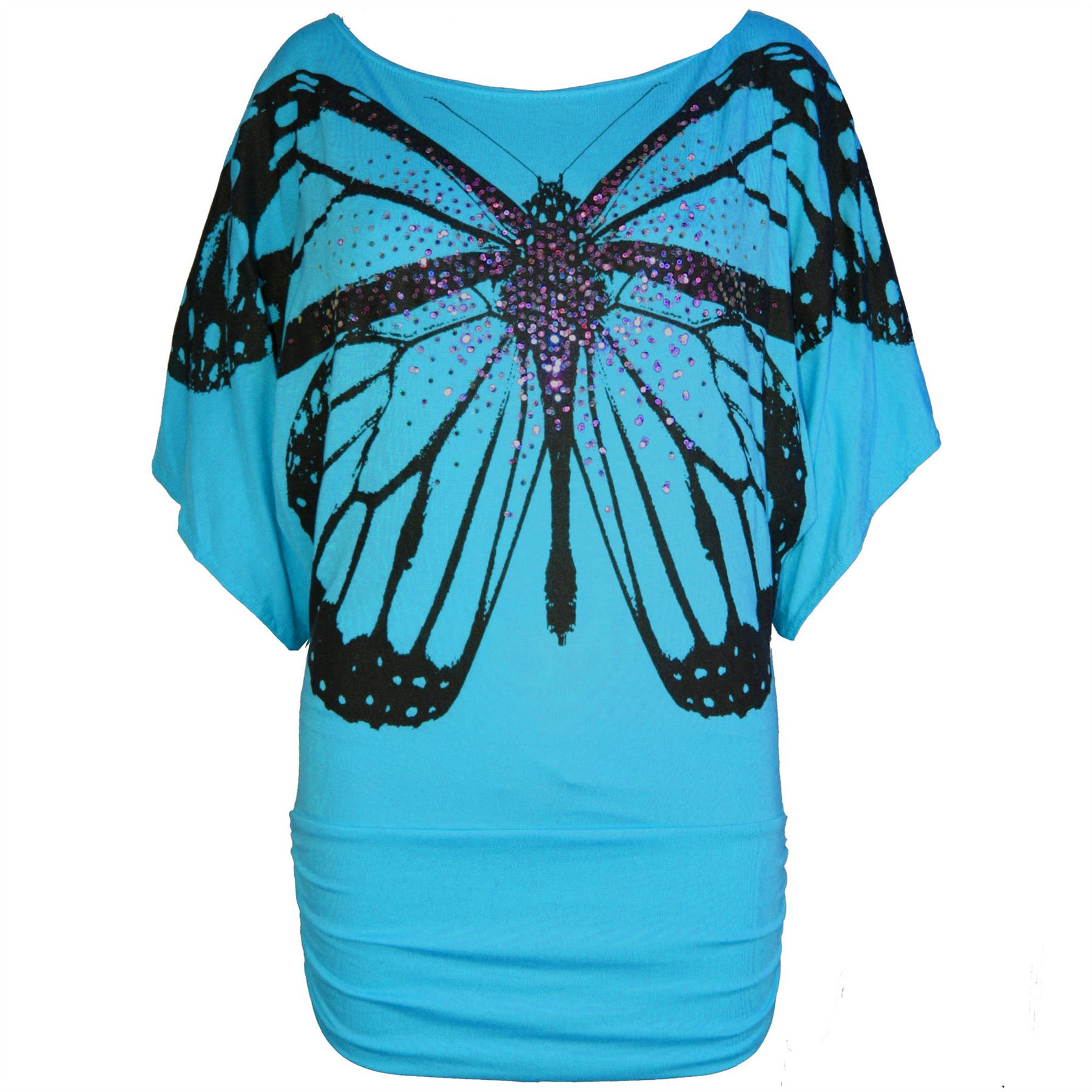Womens Ladies Celeb Print Off Shoulder Sequin Butterfly Batwing Side Ruched Top