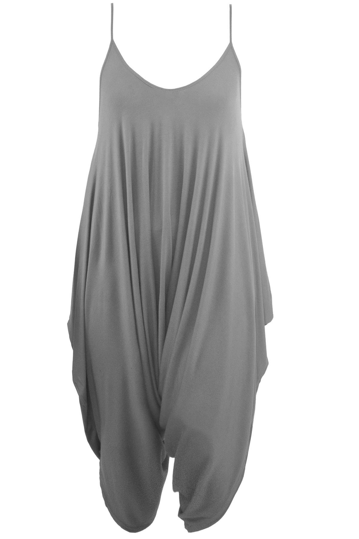 Plus Size Ladies Womens Strappy Lagenlook Romper Baggy Harem Playsuit Jumpsuit