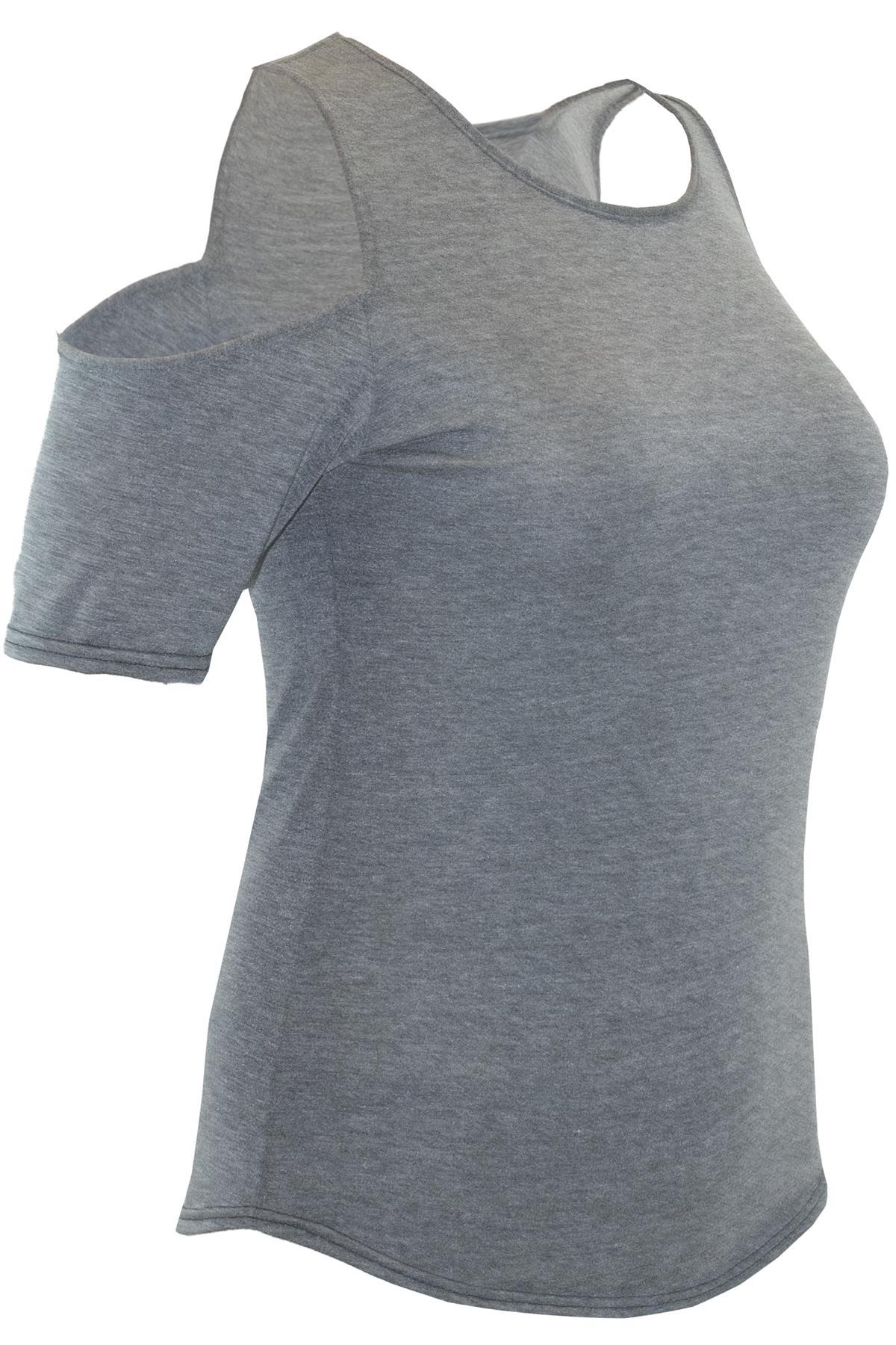 Plus Size Womens Ladies Baggy Cold Shoulder Curved Hem Top