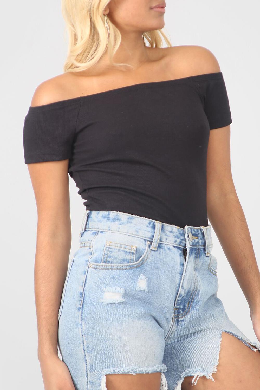 Femme Plaine à mancherons Côtelé Off Épaule Bardot Extensible T-shirt Top