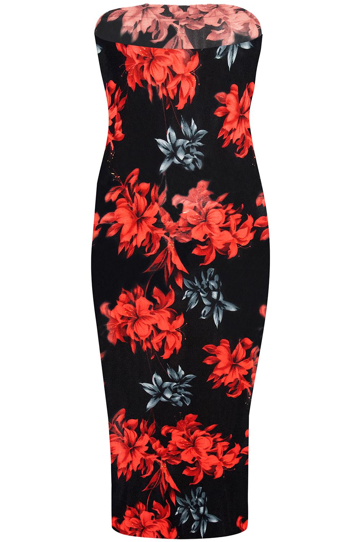 Womens Ladies Strapless Midi Jersey Bandeue Boobtube Plain Bodycon Dress