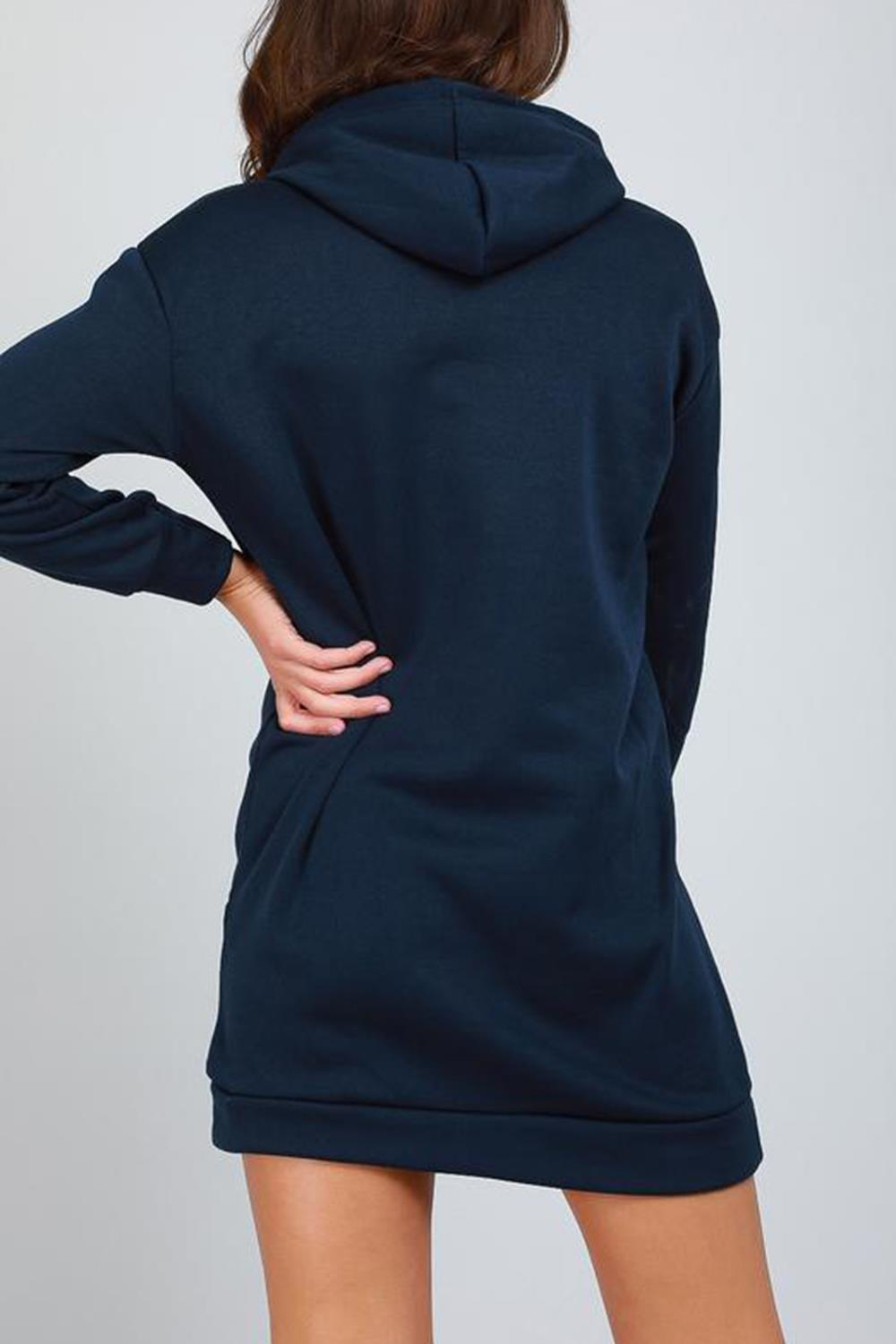 Femme manches longues New York Baggy Pull Sweat à Capuche Long Robes
