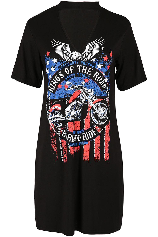Les femmes roi de la Road born to ride slogan femmes tour de cou cou long t shirt robe