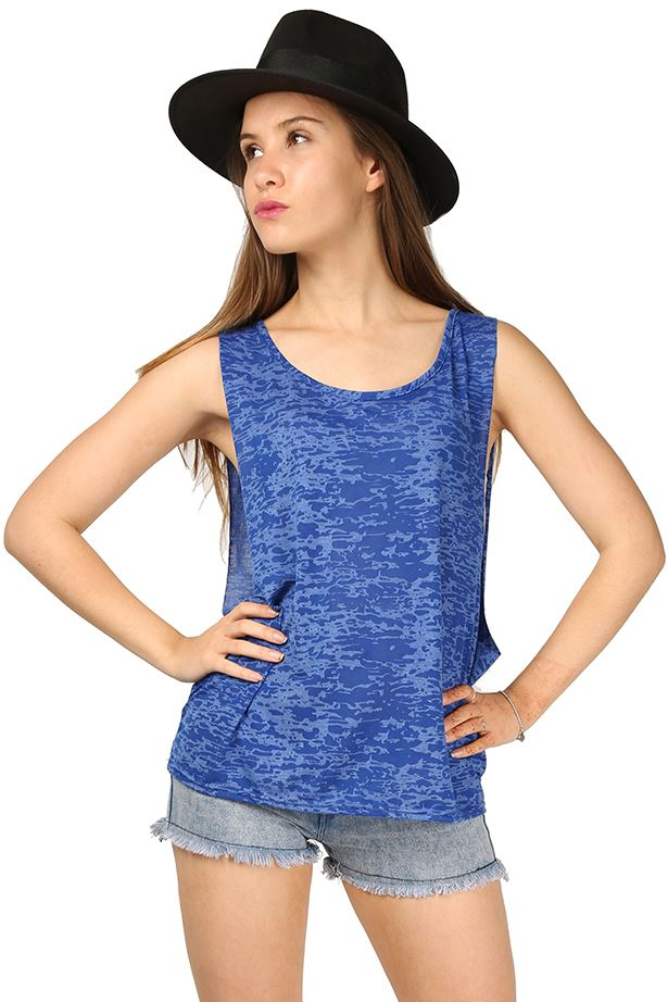 New Womens Ladies BurnOut Deep Side CutOut Tank Sleeveless T Shirt Top Plus Size