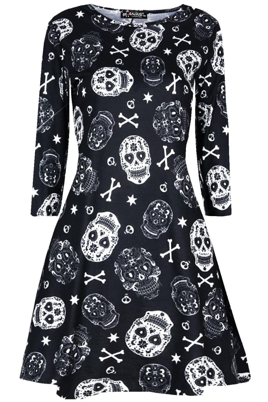 Girls Kids Childrens Skull Face Party Halloween Costume Smock Swing Mini Dress