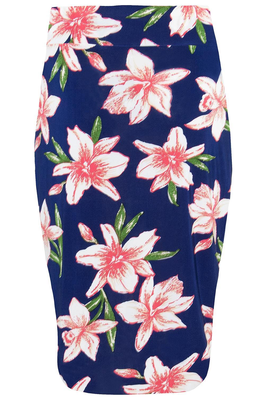 Womens Ladies Rose Floral Printed Elasticated Waist Bodycon Bandage Midi Skirt