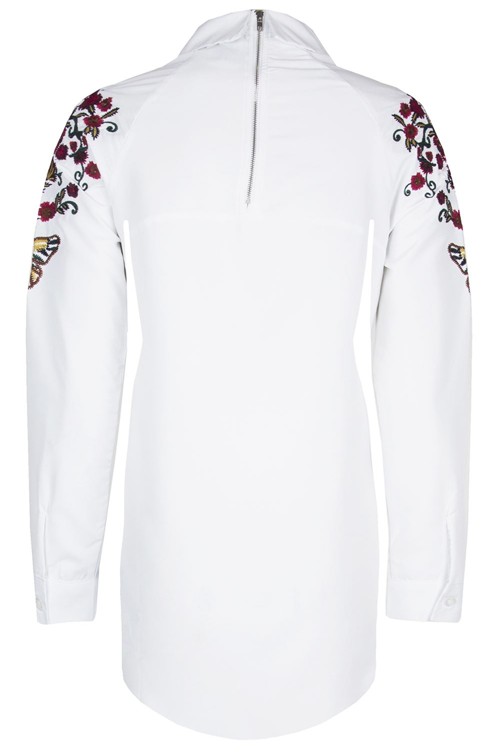 Womens Back Zip Up Shoulder Embroidery Floral Butterfly Shirt Curved Hem Dress