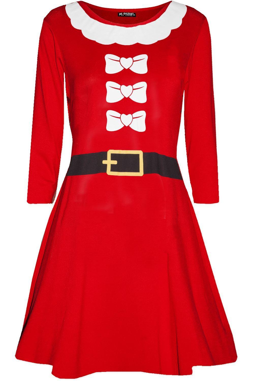 Kids Girls Womens Ladies Reindeer Wall Christmas Xmas Flared Swing Mini Dress