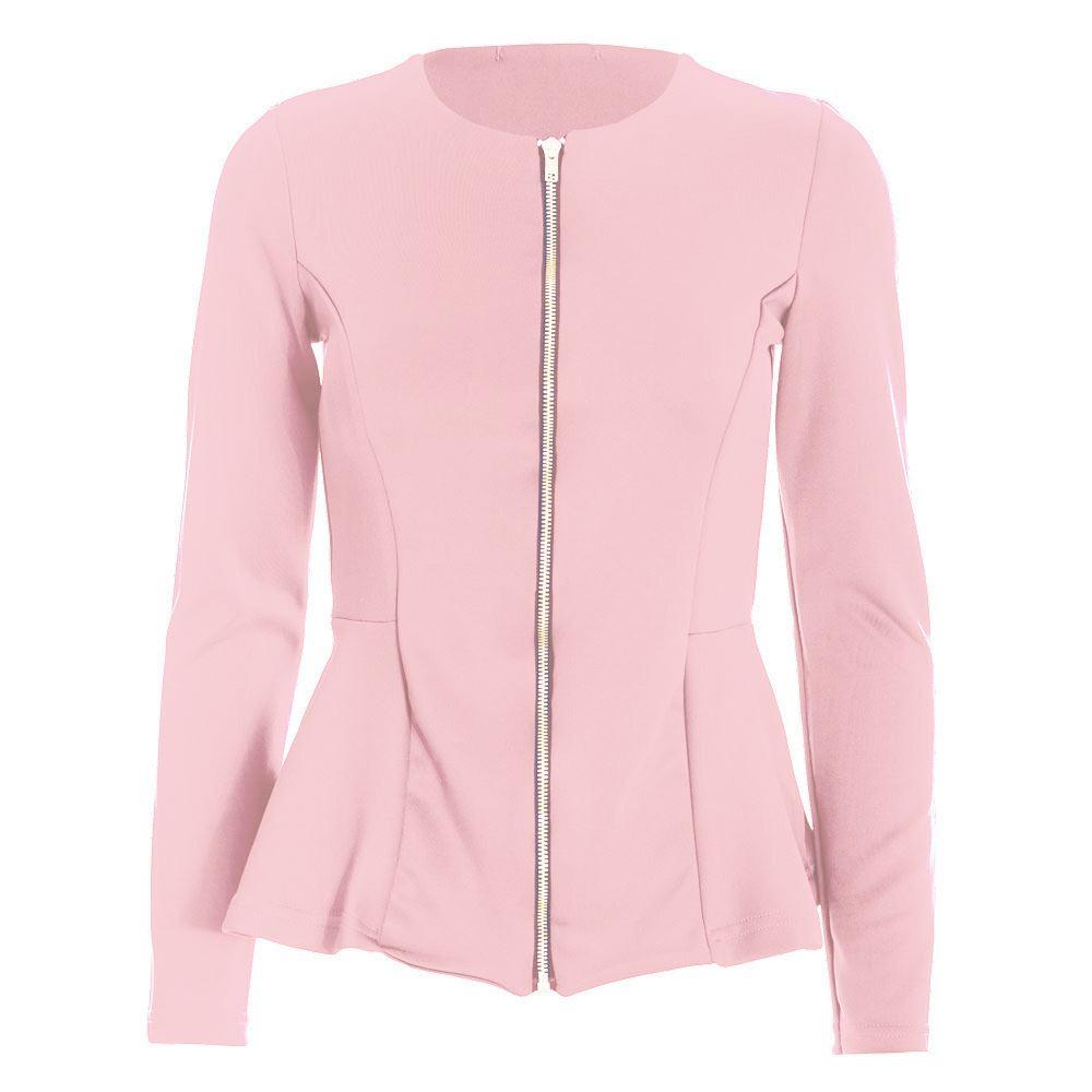 Womens Ladies Tailored FULL Sleeves Zip Up Peplum Ruffle Frill Jacket Blazer Top