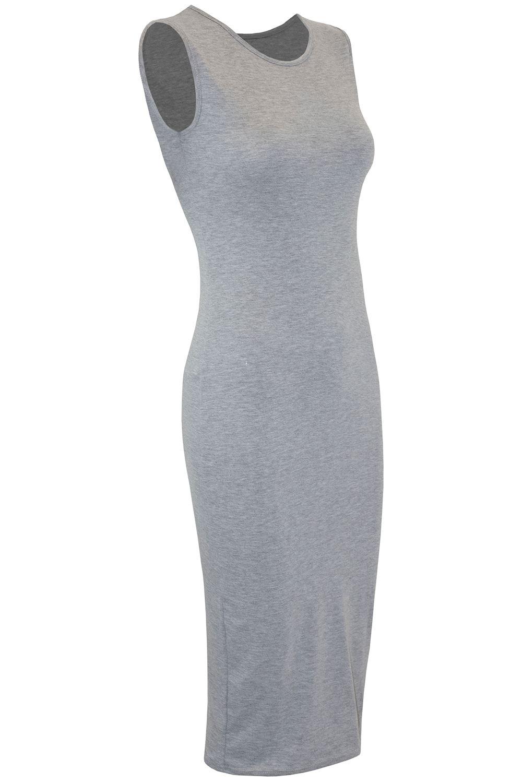 Femme Femmes Sangle Cami sans manches bandage à Lanières Moulante Extensible Midi Robe