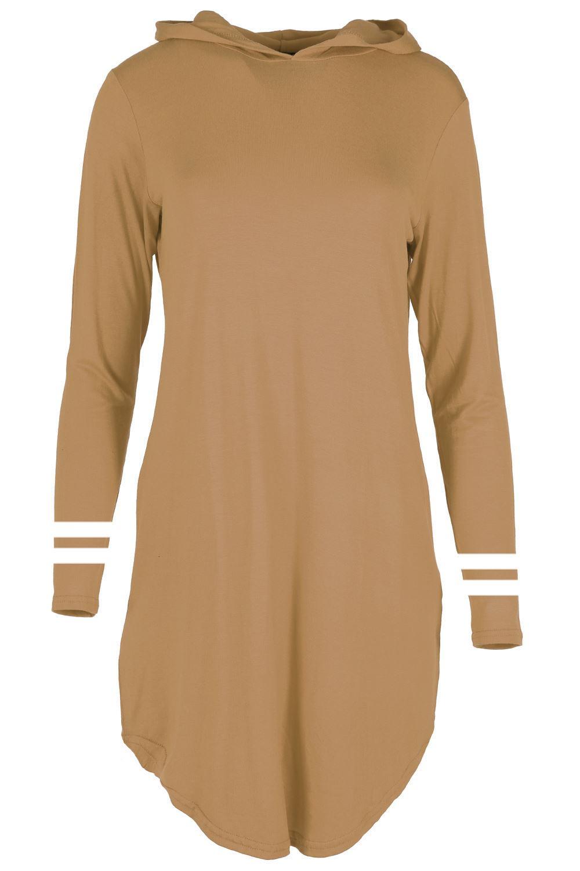 Womens Curved Hem Hoodies Plain Long Sleeves Loose Baggy Ladies Dress Plus Size