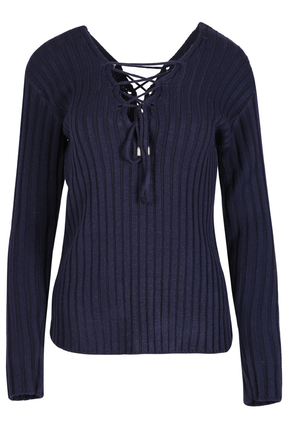 New Womens Ladies Rib Knit Front Back Eyelet Lace Up V Neck Pullover Jumper Top