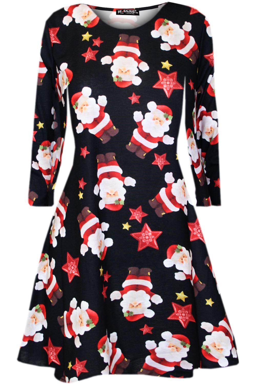 Kids Girls Christmas Heart Ribbon Santa Father Suit Costume Xmas Swing Dress