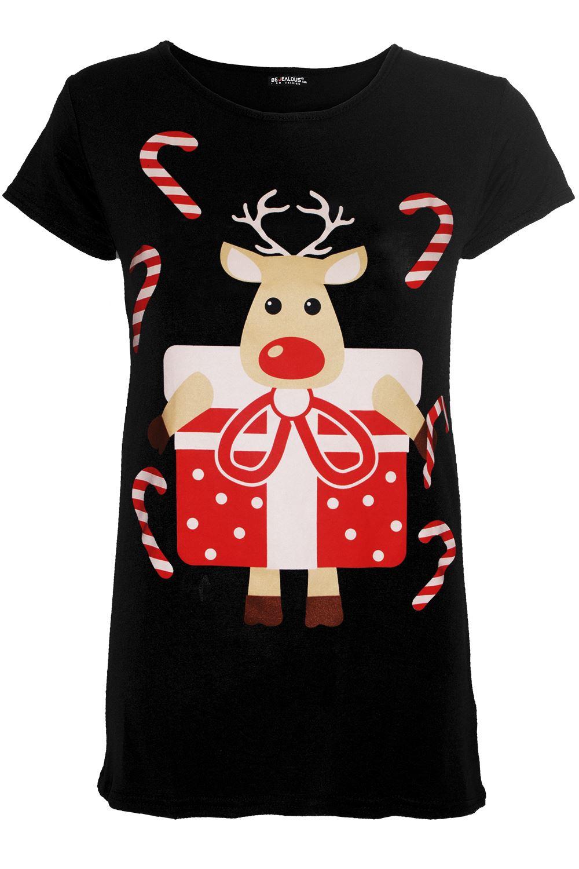 Femme Noël Xmas oh deer Imprimé Femme à mancherons extensible T Shirt Tee Top