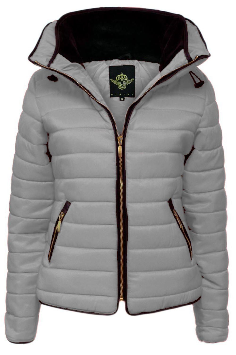 Womens Ladies Puffer Bubble Padded Faux Fur Collar Quilted Hooded Jacket Coat