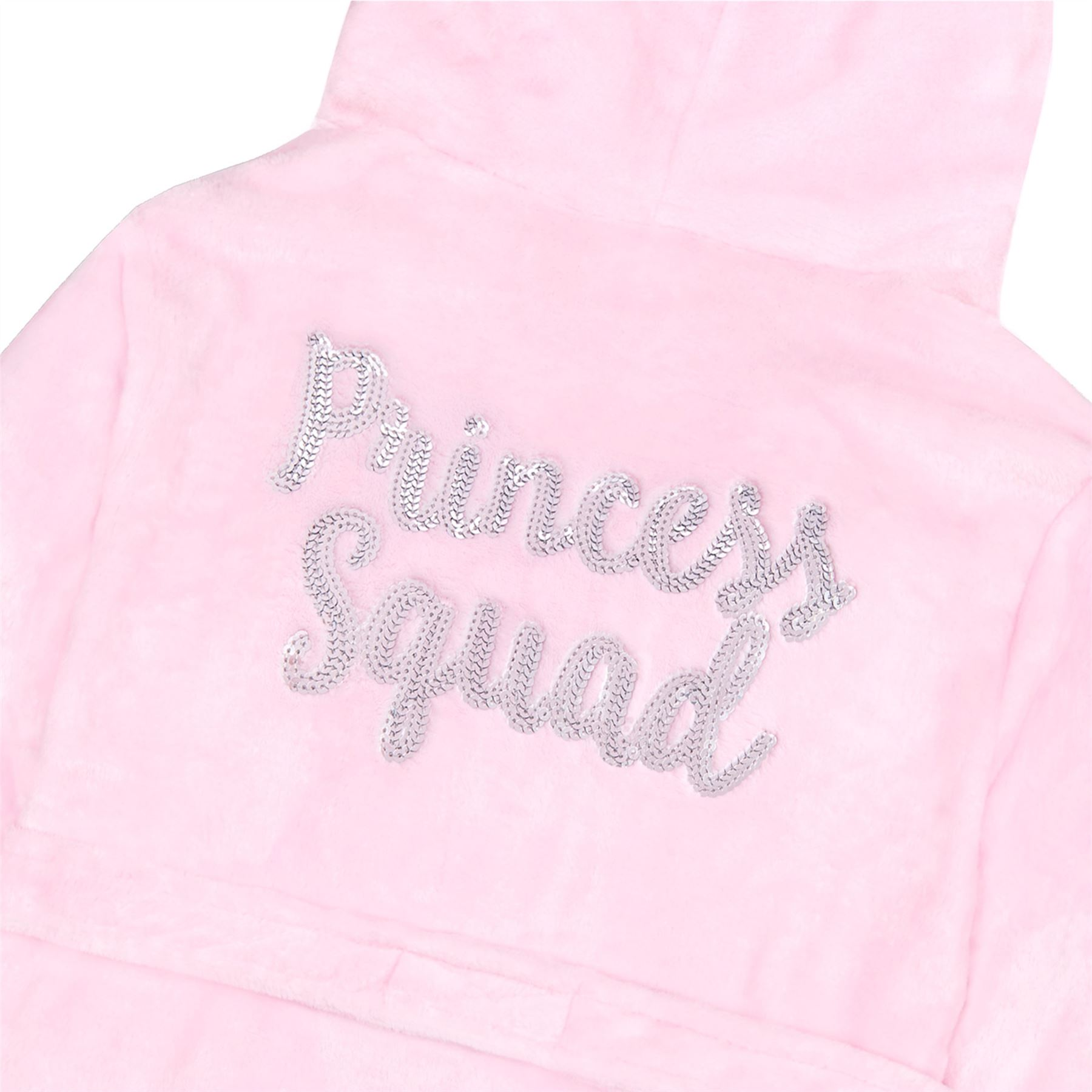 Girls Sequin Dressing Gown Robe Warm Soft Plush Fleece Hooded Slogan Princess