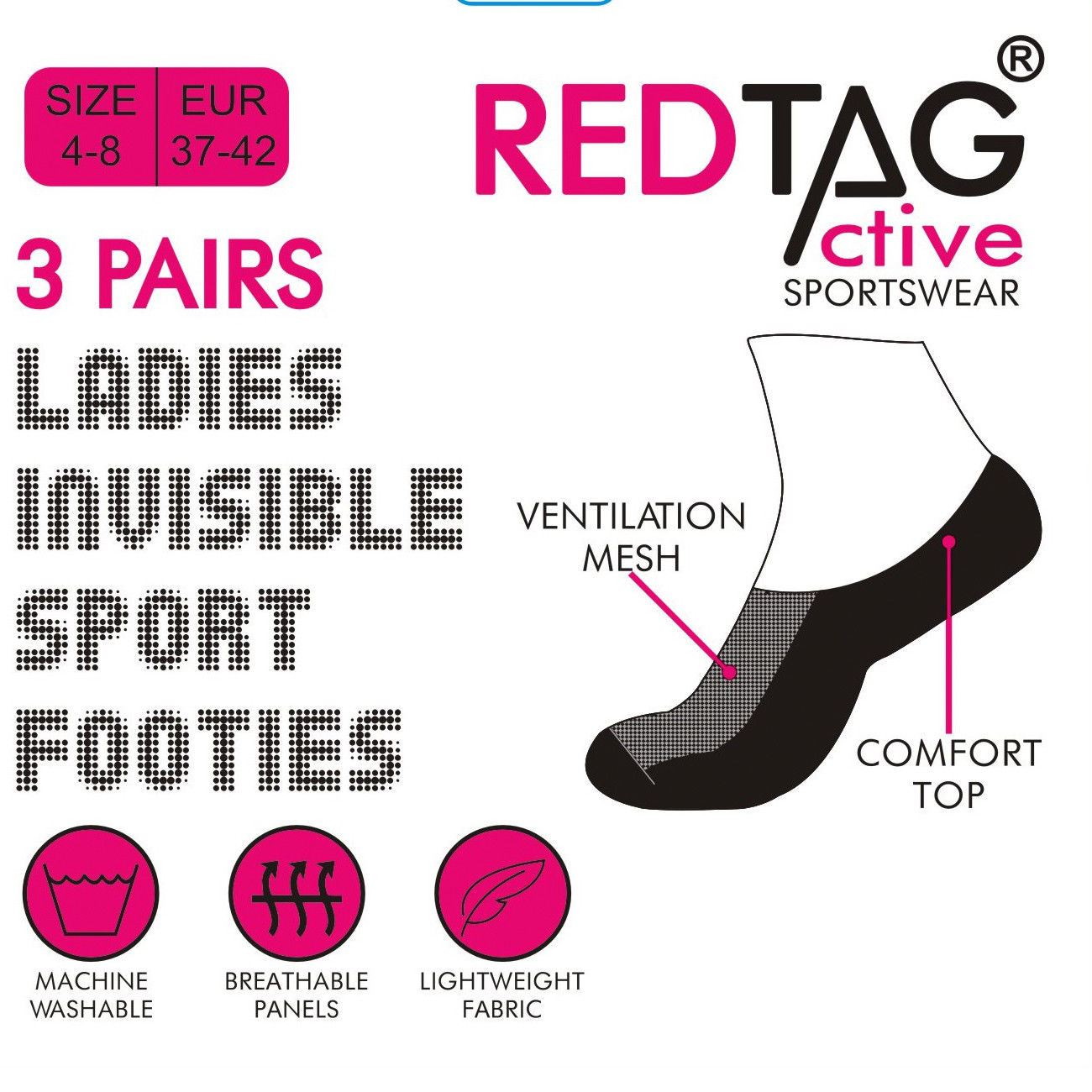 Ladies//Women Invisible Socks Trainer Liners//Gym COTTON RICH 4-8 Comfort MESH NEW