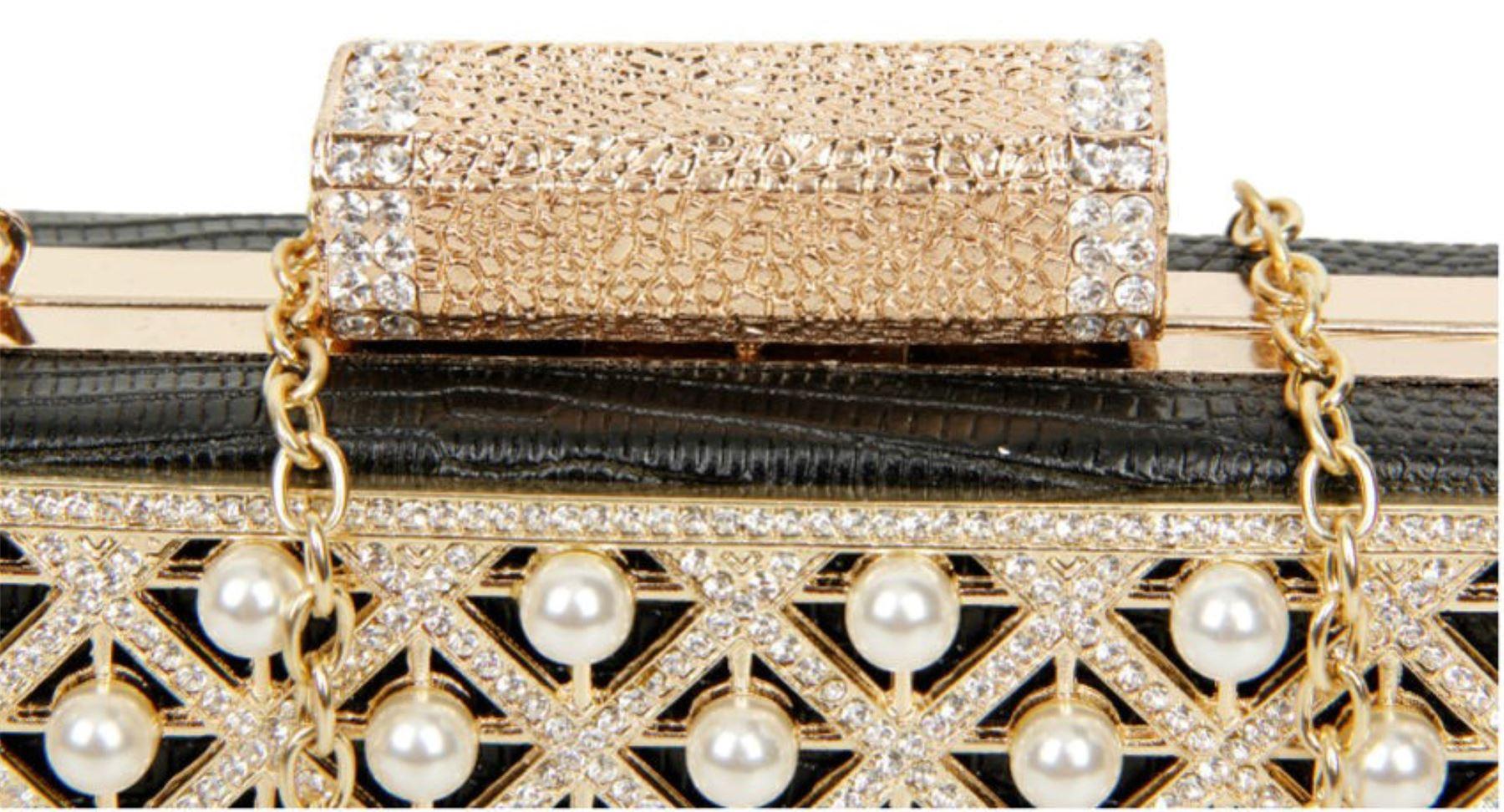 Vintage Señoras duro caso Clutch Bag Grande Perlas Cierre Diamante Fiesta Boda