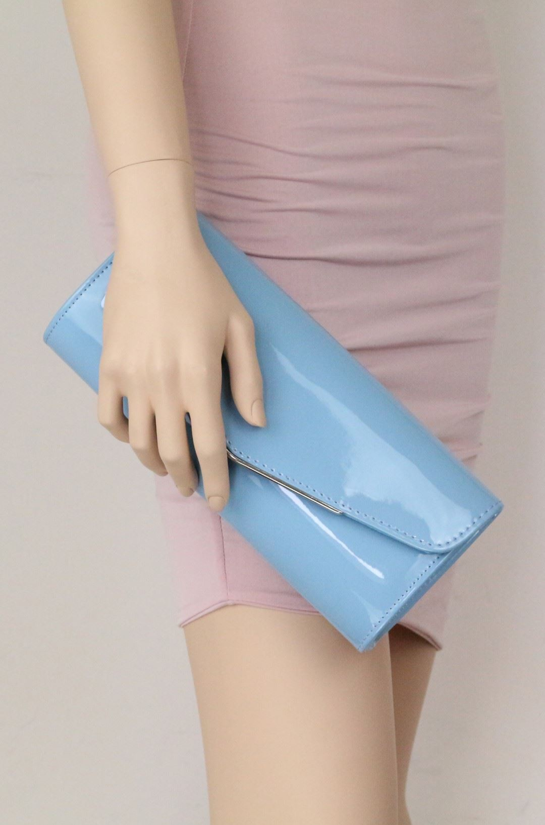Plain Glossy Clutch Bag Oversized Patent Faux Leather Handbag Metallic Frame
