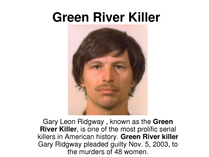 the green river killer essay Gary leon ridgway is seen in this 1982 king county sheriff's booking mug ridgway, 52, was arrested friday, nov 30, 2001 for investigation of homicide in the deaths of four women slain in 1982 by the so-called green river killer, the.