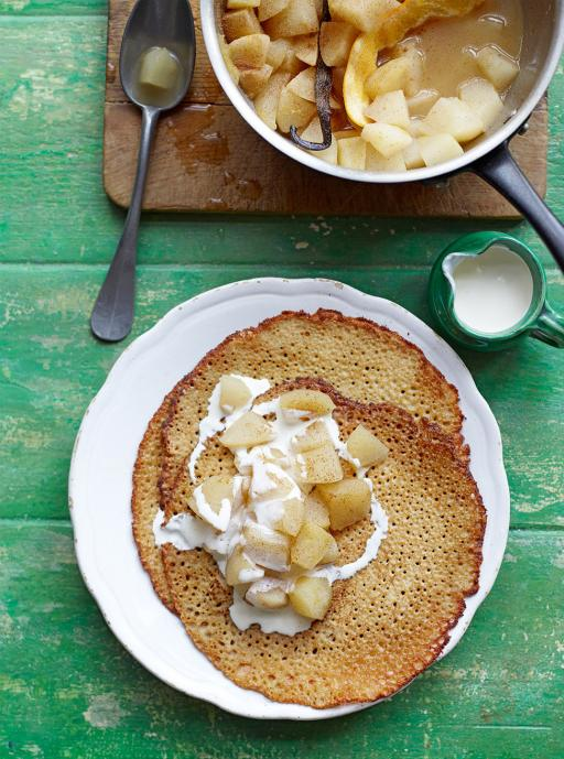 buckwheat crepes with poached apple and pear