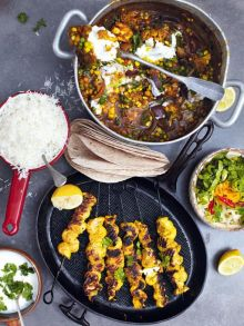 Roasted veg vindaloo with golden gnarly chicken skewers