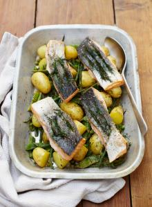 Summer tray-baked salmon