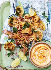 Party squid & harissa mayo