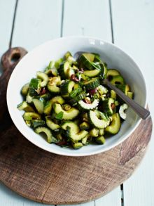 Balsamic-dressed cucumber with olives