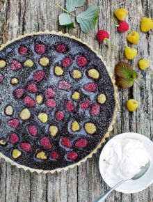 Chocolate & raspberry tart